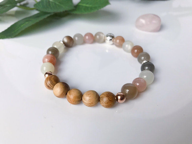 Multicoloured Moonstone with Sandalwood Essential Oil Diffuser Bracelet