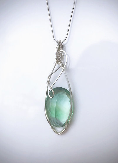 Natural Green Fluorite Wire Wrapped Pendant with Silver Chain
