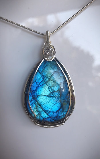 Labradorite Wire Wrapped Pendant (Large) with Chain