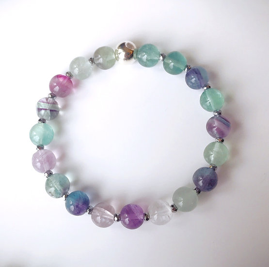 Rainbow Fluorite bracelet for Mental & Emotional Stress Relieve