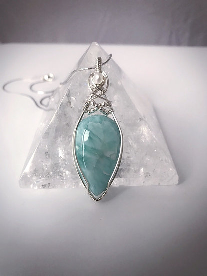 Criss Crossed Larimar Pendant with Silver Chain