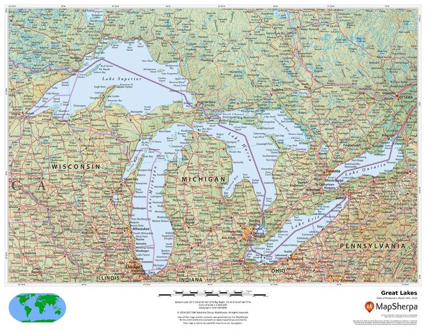 MapSherpa Regional Relief Great Lakes sample map