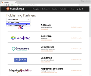 Publishers list page example