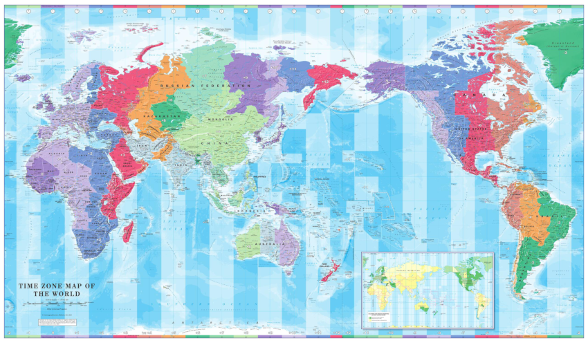 Pacific Centred World Time Zone Map sample