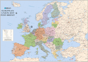 XYZ Maps map of the European Union post-Brexit if Scotland stays in the EU