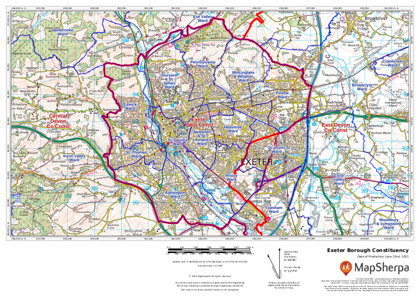 Exeter Borough Constituency sample map