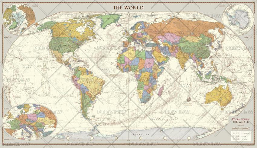 Global Mapping World Map Antique Style