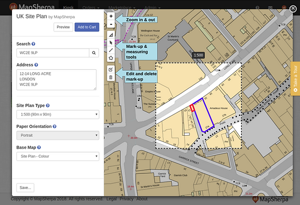 Site Plan interface example