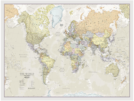 New Print on Demand Maps: Maps International Classic and Political World Maps Standard Page Sizes