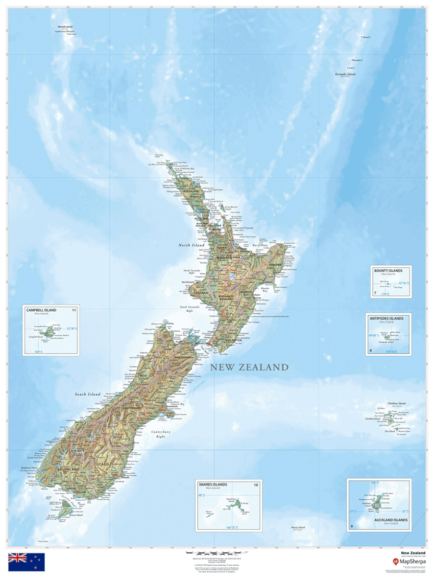 MapSherpa Regional Relief New Zealand sample