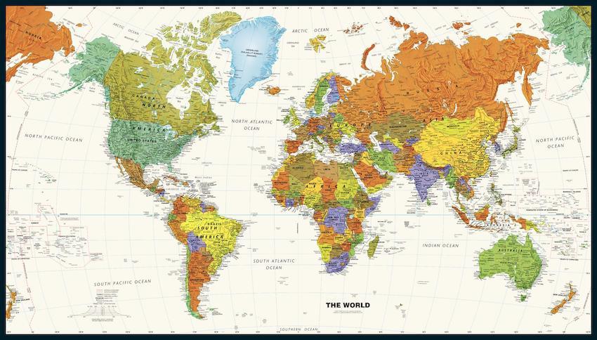Contemporary World Wall Map Sample