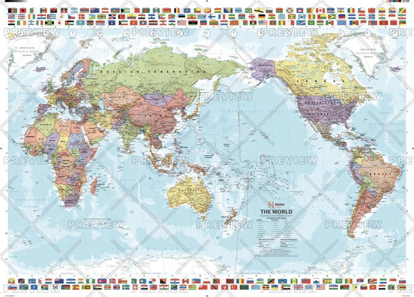 Pacific-centered map of the world with timezones and flags