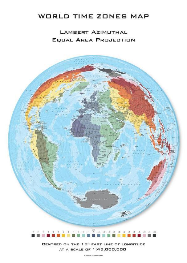 Oxford Cartographers Hexagon Time Zones Map