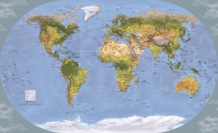 Inspirit Cartographics World Shipping Routes Map