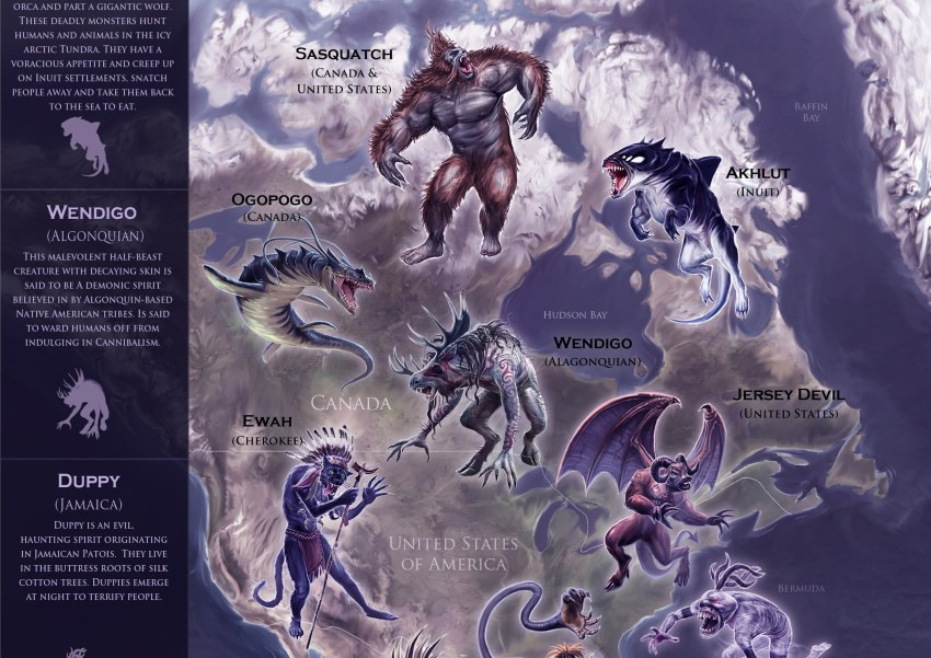Mythical Monsters Map Premium North American Sample