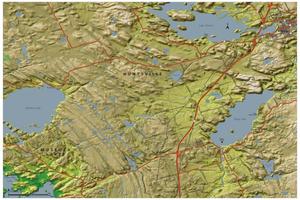 Inspirit Cartographics map of summer camps southwest of Huntsville, Ontario