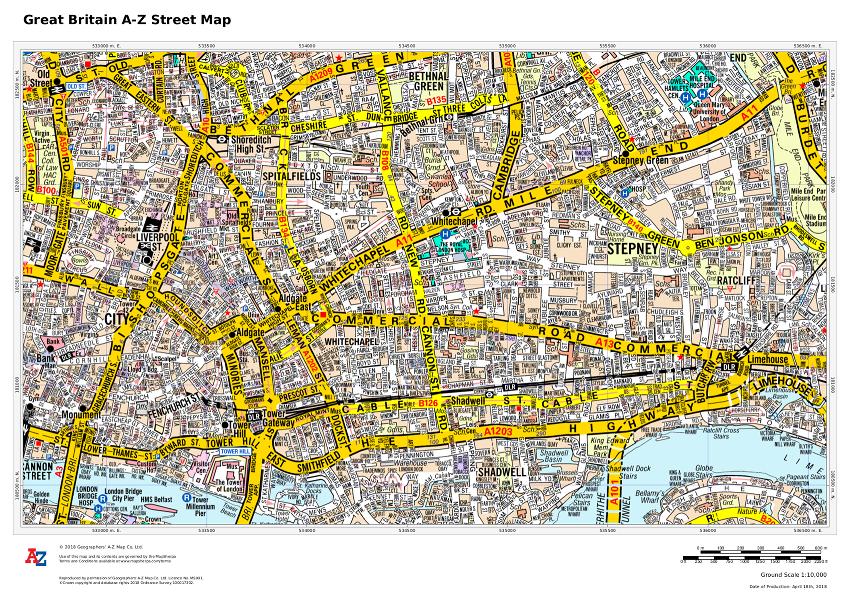 A-Z Maps Street map sample