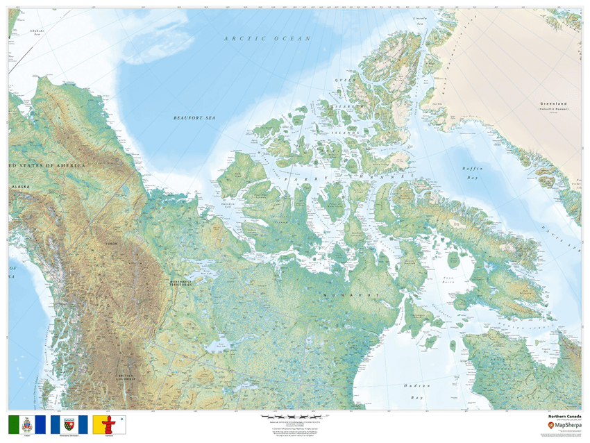 MapSherpa Regional Relief Northern Canada Sample