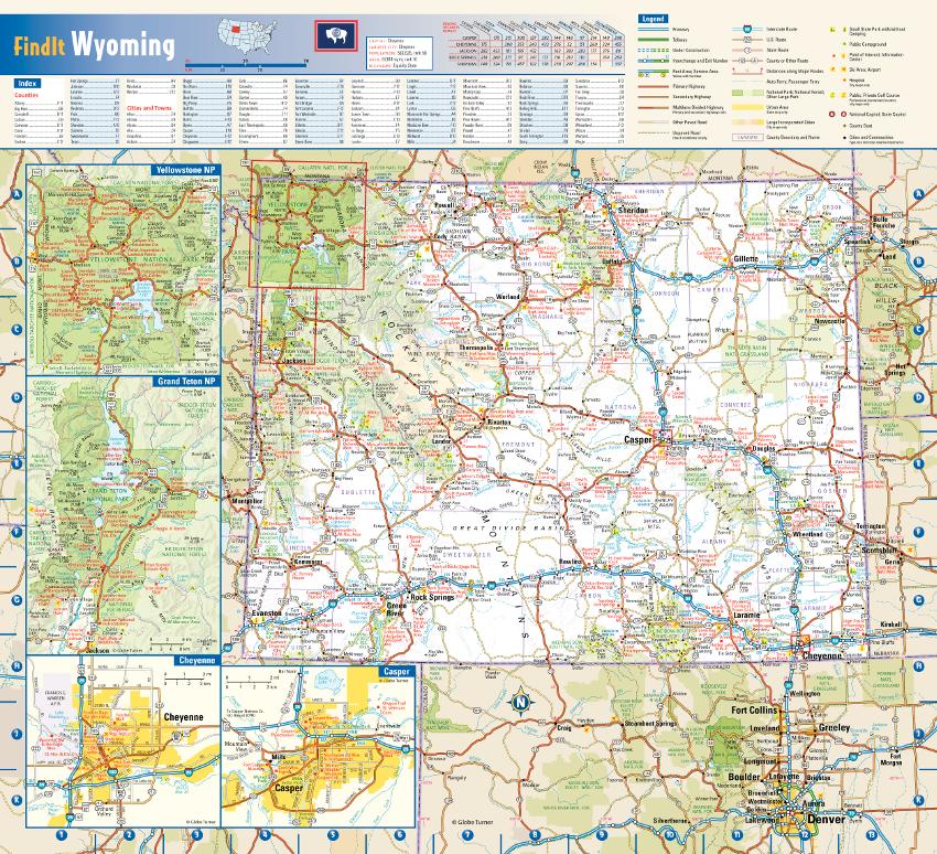 Globe Turner Wyoming map sample