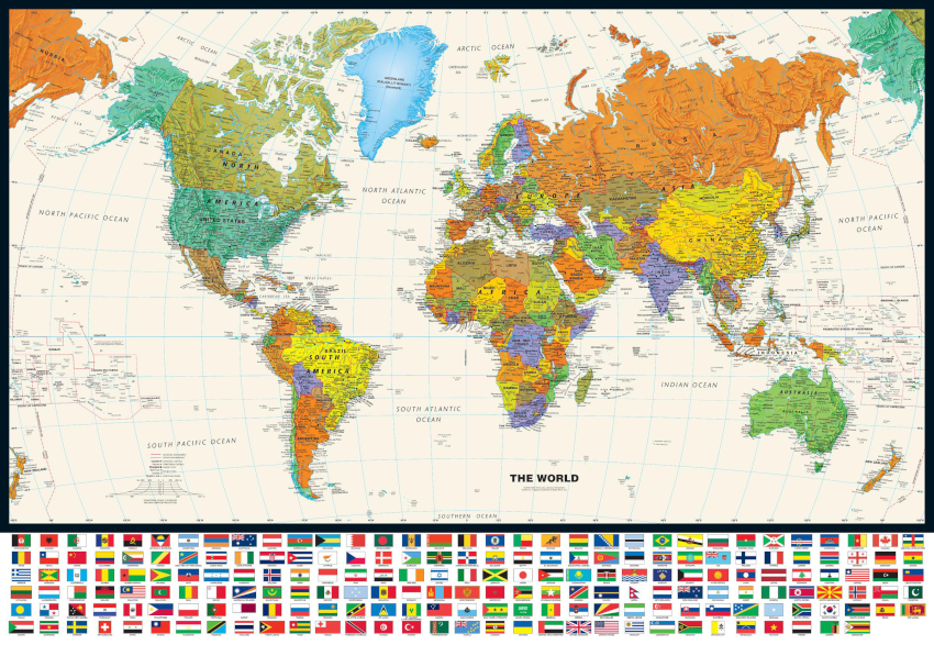 Contemporary World with Flags Sample Map