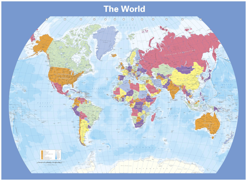 Cosmographics colour blind friendly world map