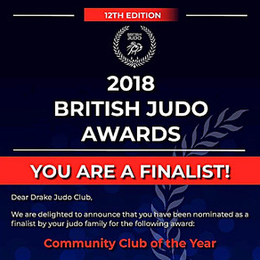 Drake Judo Club is a Finalist for the BJA Community Club of the Year