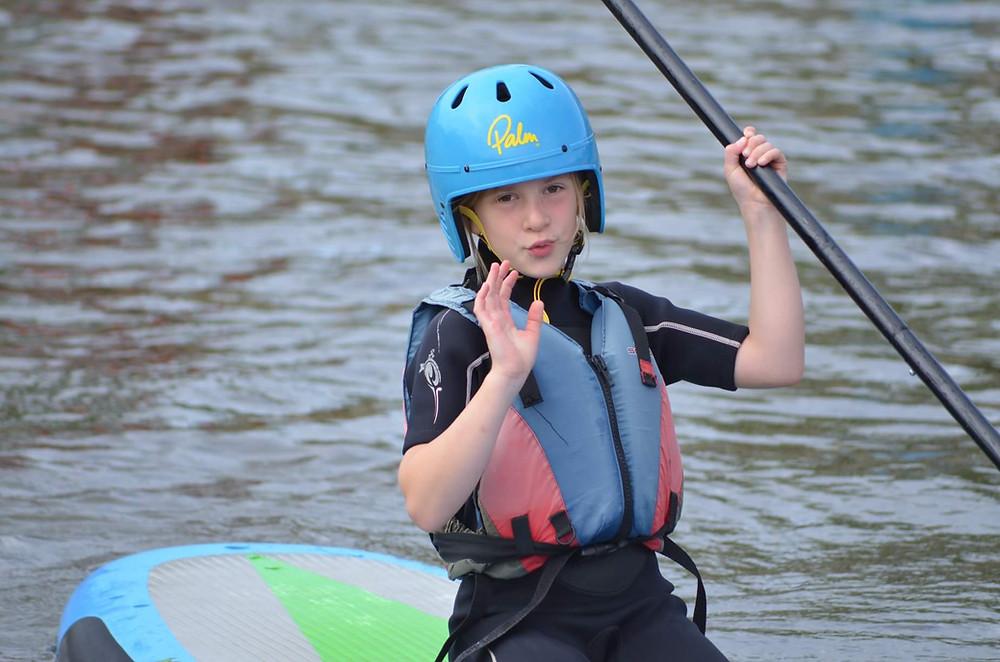 Erin paddle boarding