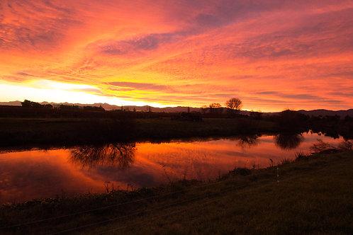 Opawa River Winter Sunset