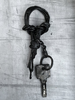 Burned Leather Keychain
