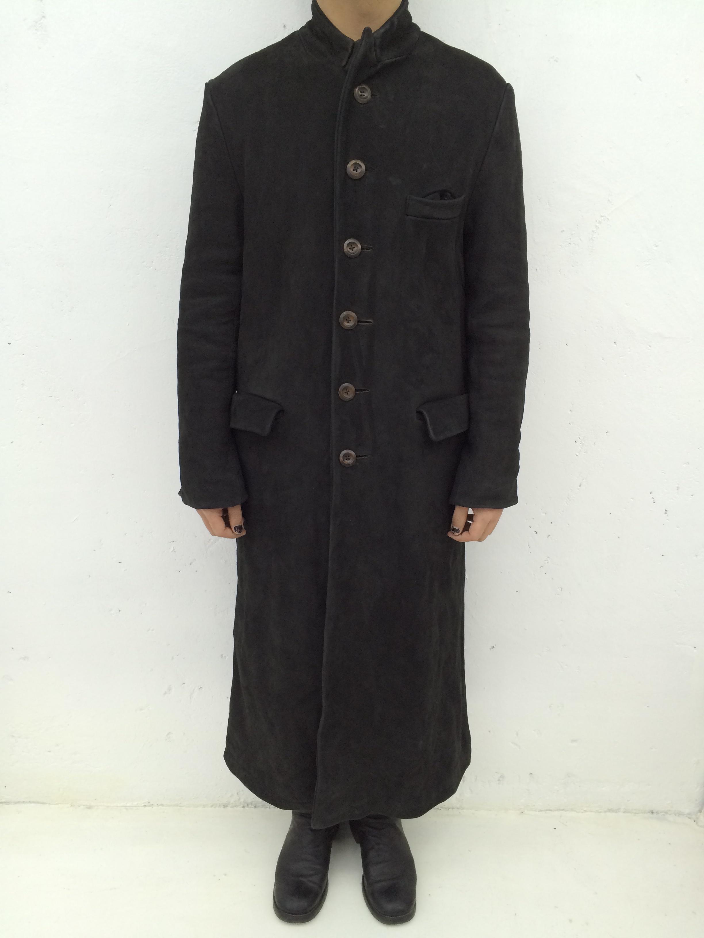 Washed Long Leather Coat