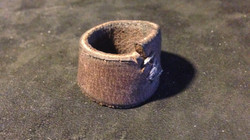 Metal Stitched Leather Ring