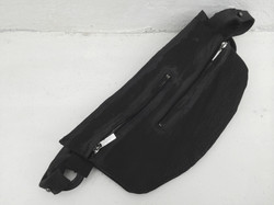 Parallel-Zips Leather Clutch Bag