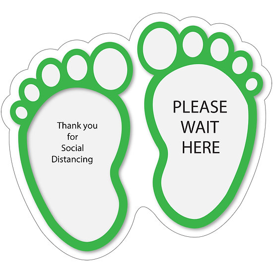Green fun footprints White Background Round Floor Decal Black Text Thankyou for Social Distancing Please wait here