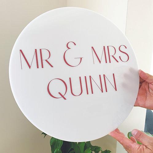 Round Acrylic Wedding Signage