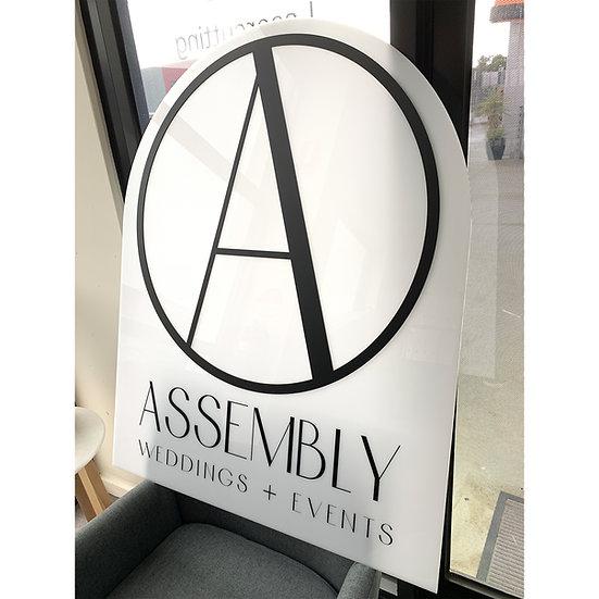 Arched Opal Acrylic with Black Lasercut Text Personalised sign