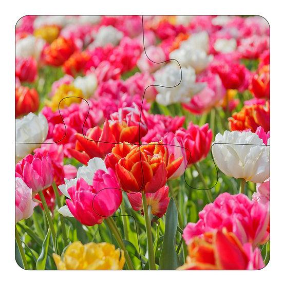 Vivid Flowers (4pc Jigsaw Drink Coasters)