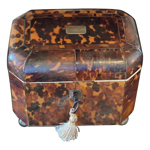 19th Century English Bone Inlaid Tortoise Shell Tea Caddy
