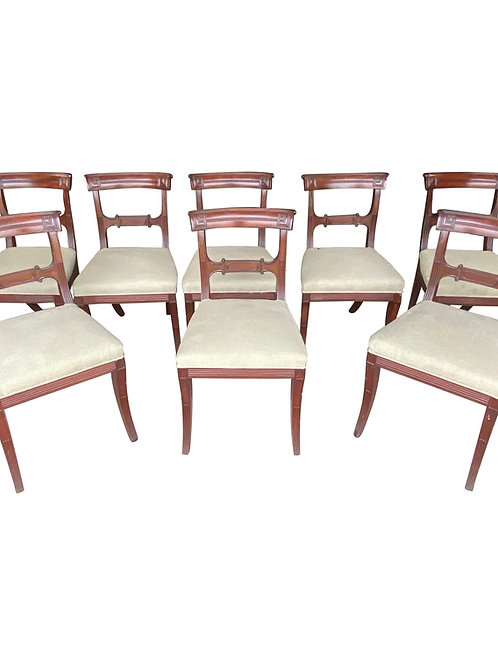 Set of 8 19th Century English Mahogany Side Chairs with Greek Key and Saber Legs