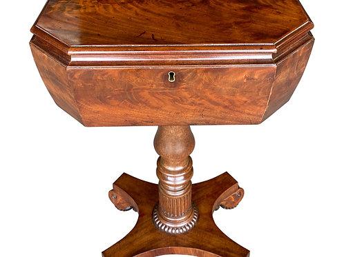 19th Century English Figured Mahogany Teapoy Side Table