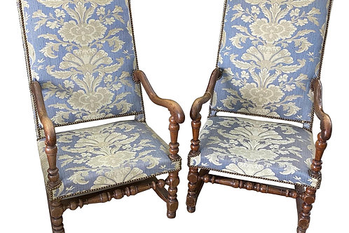 Pair of 19th Century French Carved and Turned Wishbone Armchairs
