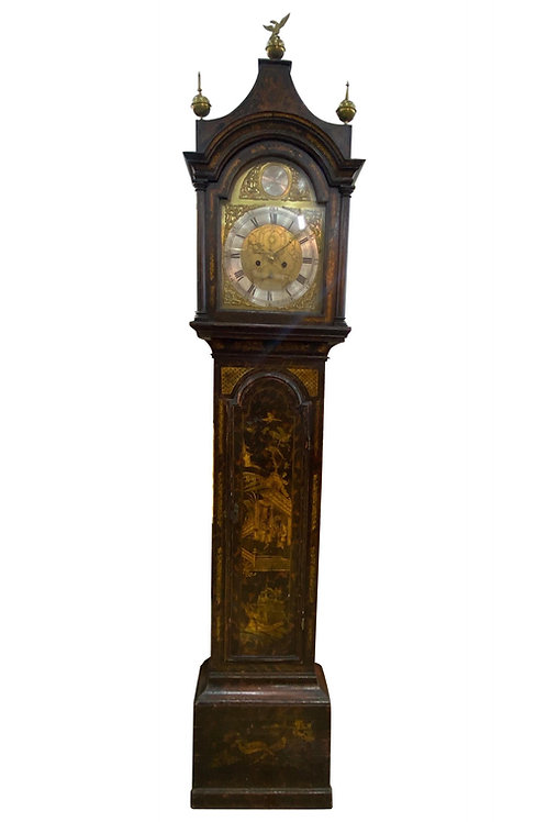 18th Cent. Chinoiserie Tall Case Clock with Faux Tortoiseshell and British Ship