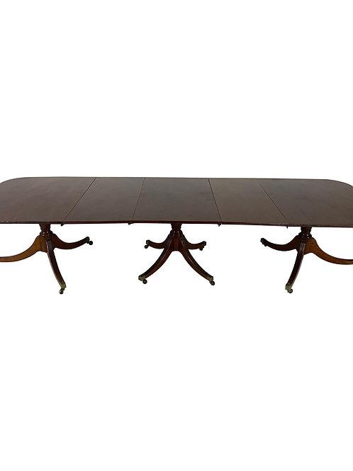 Fine Early 19th Century English Mahogany Triple Pedestal Dining Table