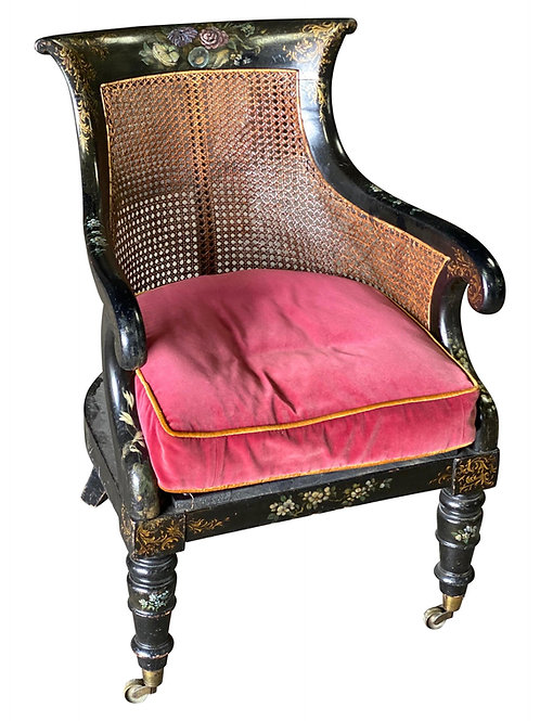 19th Century English Paint Decorated Caned Library Chair