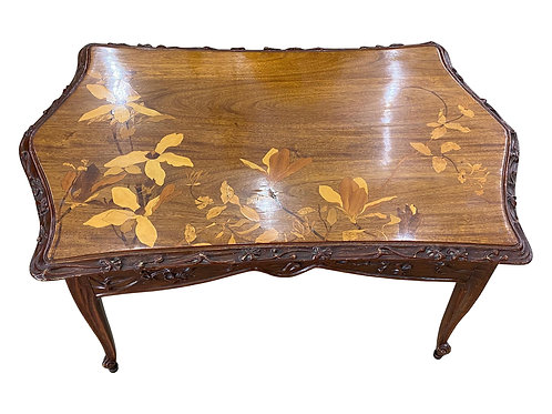 Early 20th Century French Art Nouveau Coffee Table with Inlaid Flowers