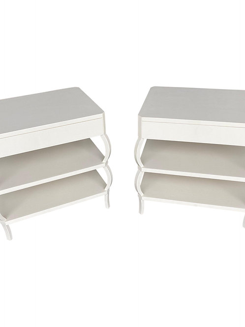 Custom Artisan Made Hand Painted Textured One Drawer Side Tables