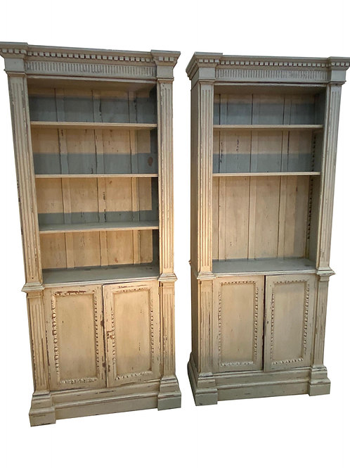 Pair of Antique Georgian Style Grey Painted Bookcases
