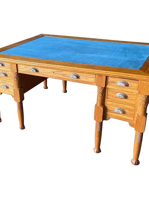 Elegant Satinwood Art Nouveau Partners with Desk Blue Suede Top, ca 1915