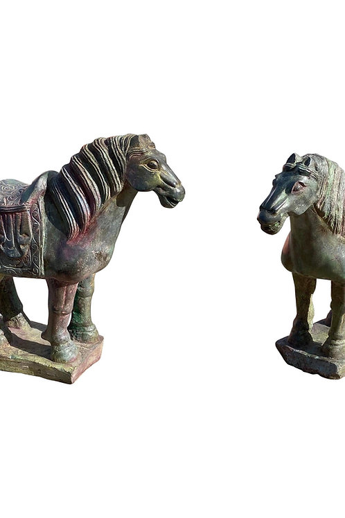 Pair of Carved Stone Tang Horses