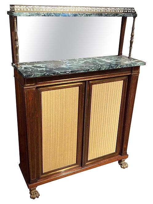 19th Century Regency Brass Inlaid Rosewood Marble Top Chiffonier w/ Bronze Feet