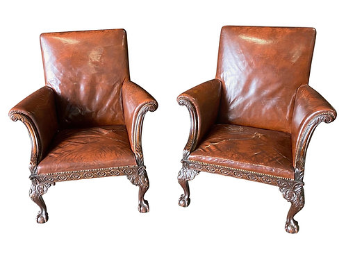 Great Pair of 19th Century English Mahogany and Leather Armchairs
